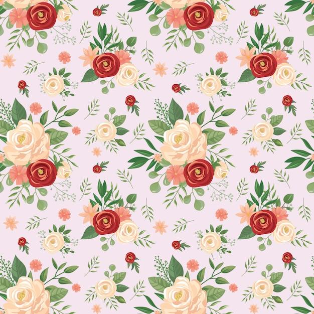 Wzór Bezszwowe Kwiaty. Kwiecisty Druk, Różani Kwiatów Pączki I Róż Tła Wektorowa Ilustracja Premium Wektorów