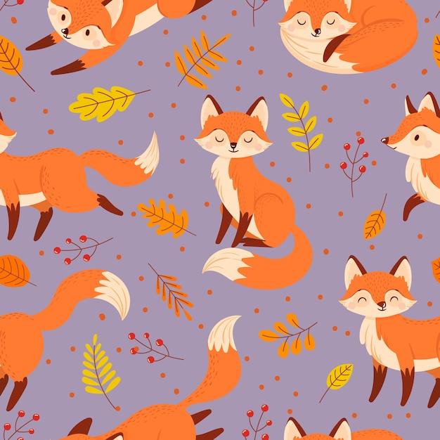 Wzór Bezszwowe Lisów. Jesienny Lis, Uroczy Pomarańczowy Plakat Ze Zwierzętami. Premium Wektorów