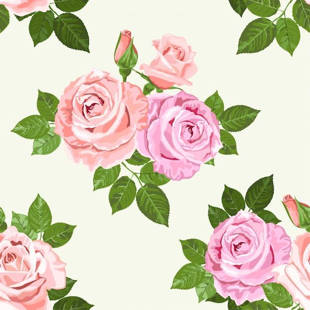 Wzór Blado Różowe I Beżowe Róże Premium Wektorów