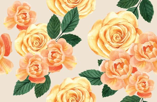 Wzór botaniczny kwiat akwarela, dzięki karty, ilustracja drukowania tkanin Darmowych Wektorów