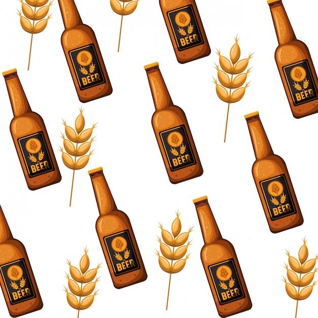 Wzór butelki piwa ikona na białym tle Premium Wektorów