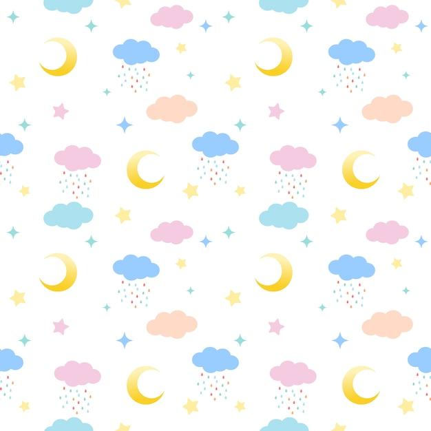 Wzór chmur, księżyców i gwiazd Premium Wektorów