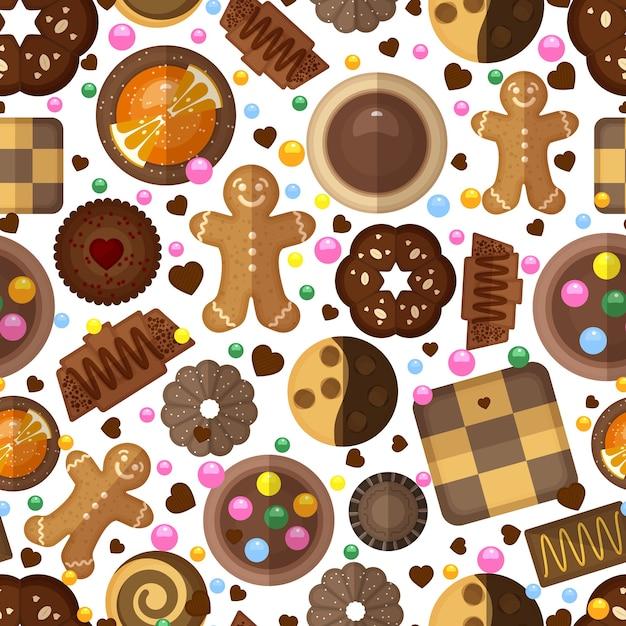 Wzór Ciasteczka. Słodycze Deserowe, Dżemy I Czekoladki, Pyszne Produkty I Pierniki Darmowych Wektorów