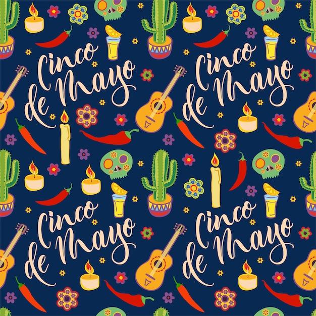 Wzór Cinco De Mayo. Viva Mexico. Symbole Kultury Meksykańskiej. Sombrero, Marakasy, Kaktus I Gitara W Kafelkowym Tle. Premium Wektorów