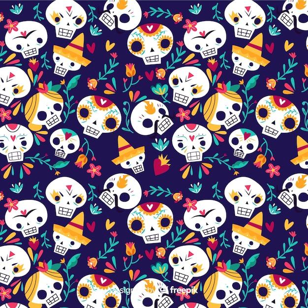 Wzór czaszki dziewcząt i chłopców Darmowych Wektorów