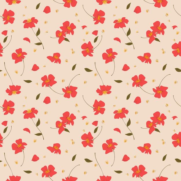 Wzór czerwony dziki kwiat. Premium Wektorów