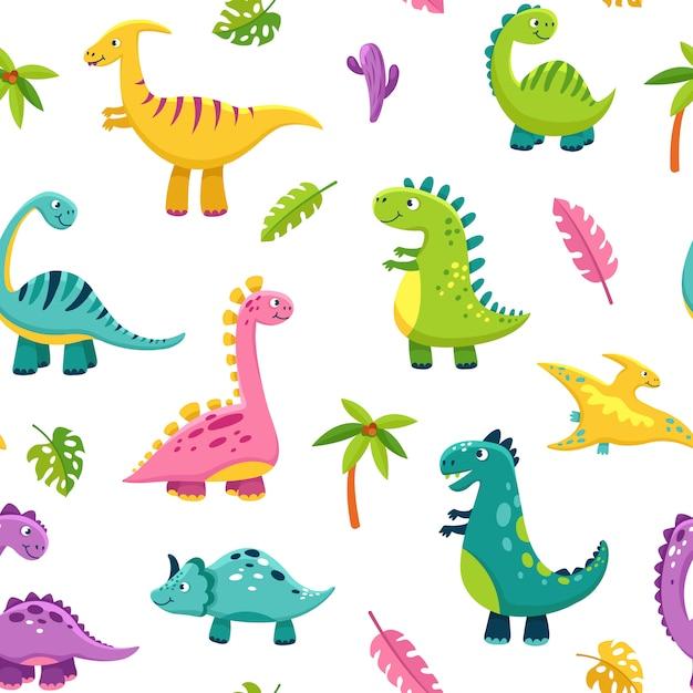 Wzór Dinozaura. Cartoon Cute Baby Dino śmieszne Potwory Jurajskie Dzikie Zwierzęta Smok Dinozaury Dzieci Tekstylia Premium Wektorów