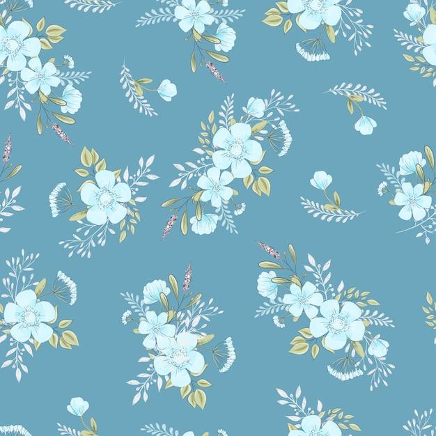 Wzór dzikich kwiatów. ilustracja wektorowa rysunek ręka Premium Wektorów