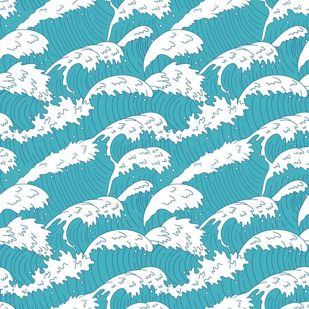 Wzór Fal Morskich. Linie Fal Oceanu Wody, Szalejące Fale Morskie Krzywej, Fale Plaży Latem Burza Tekstura Tło Ilustracja. Morze Bez Szwu Fala, Wzór Tekstury Krzywej Wody Premium Wektorów