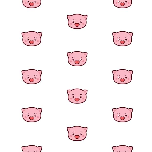 Wzór Głowy świni. Premium Wektorów