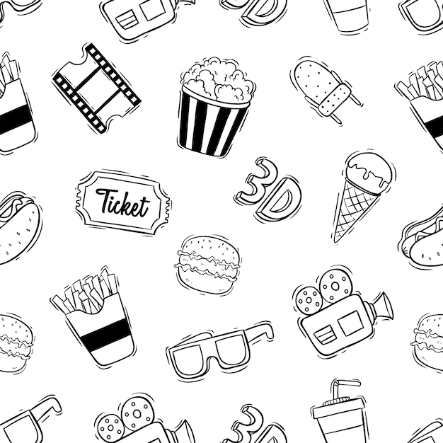 Wzór ikon kina z doodle stylu Premium Wektorów