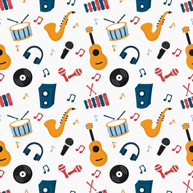Wzór instrumentów muzycznych na białym tle. Premium Wektorów