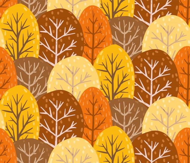 Wzór jesień las. niekończąca się tekstura. Premium Wektorów