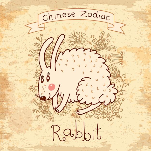 Wzór karty z chińskim zodiakiem-królik Premium Wektorów