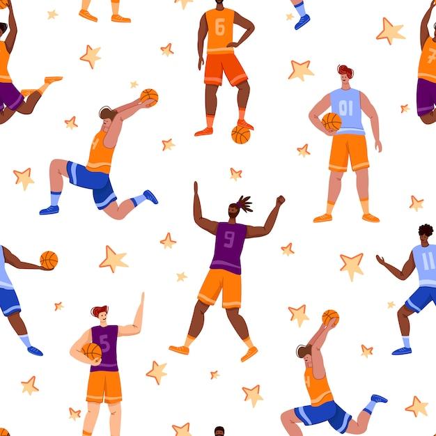 Wzór Koszykarzy - Muskularni Ludzie Z Biegiem I Skokiem Piłkę, Trening Drużyny Sportowej Premium Wektorów