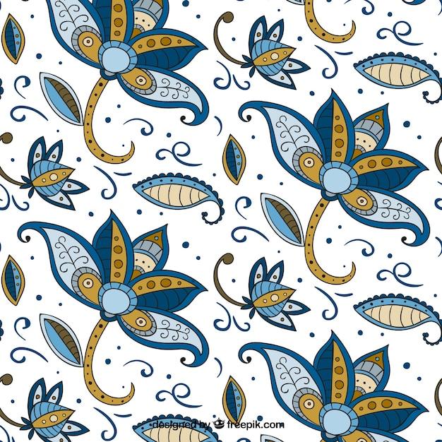 Wzór Kwiatowy Ręcznie Rysowane W Stylu Batiku Darmowych Wektorów