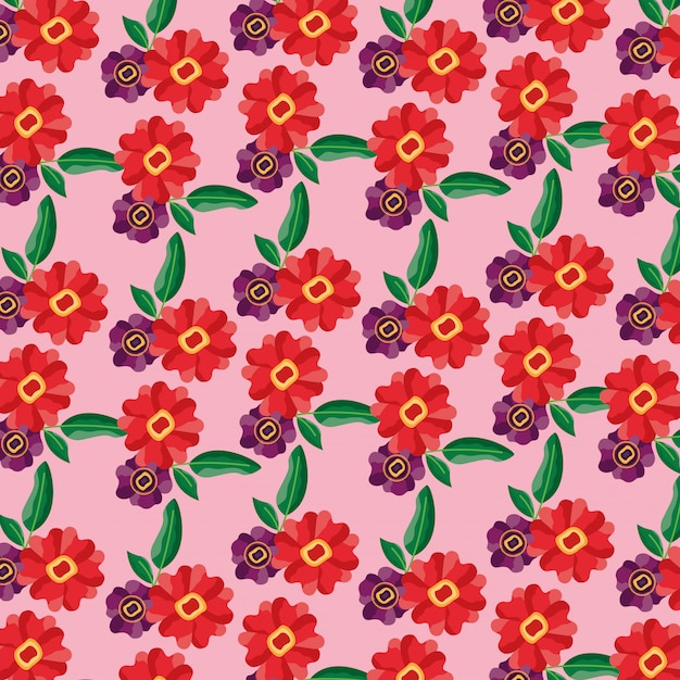 Wzór kwiaty pozostawia dekoracji liści Darmowych Wektorów