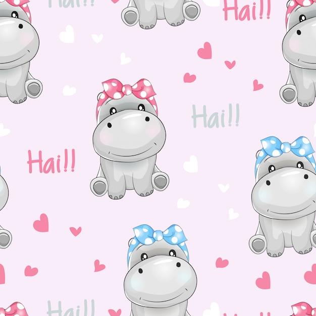 Wzór ładny hipopotam z tło miłości Premium Wektorów