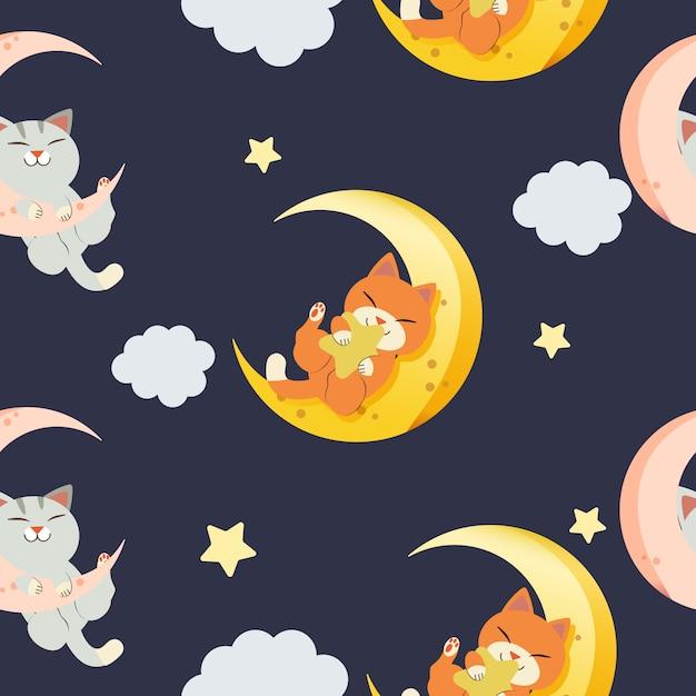 Wzór ładny Kot Grający Na Księżycu W Stylu Płaski Wektor Premium Wektorów