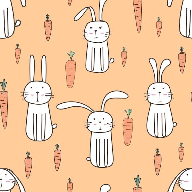 Wzór ładny króliczek Premium Wektorów