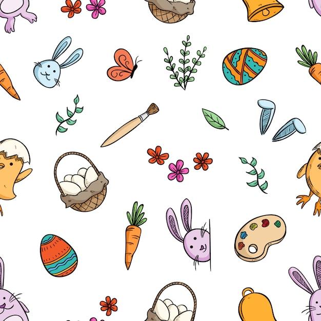 Wzór ładny Wielkanoc Ikony Z Ręcznie Rysowane Stylu Premium Wektorów