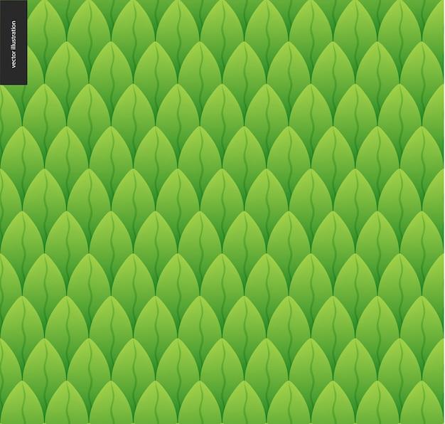 Wzór Liści. Catroon Zielony Liść Bezszwowe Wektor Ręcznie Rysowane Wzór Premium Wektorów