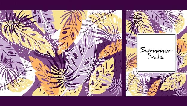 Wzór liści tropikalny kolor Premium Wektorów