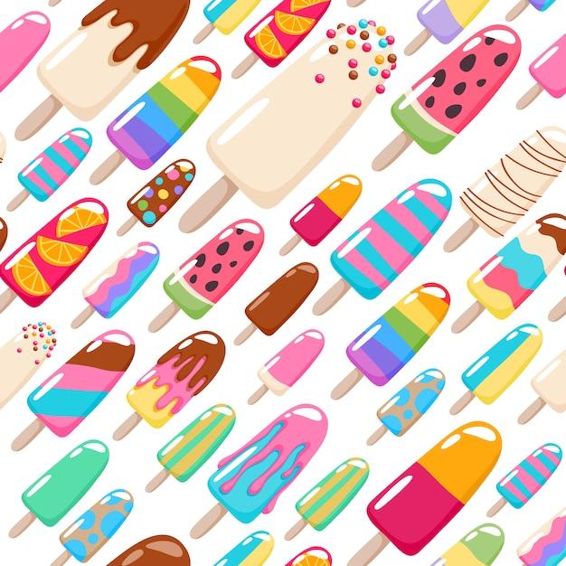 Wzór lodów popsicle. Premium Wektorów