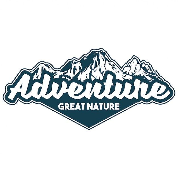 Wzór Logo W Stylu Vintage Z Nadrukiem Odzieży, Godłem, Naszywką, Plakietką Z Wielkimi Górami Pokrytymi śniegiem Na Wyprawę Pieszą. Przygoda, Podróże, Letni Kemping, Naturalna Koncepcja Na Zewnątrz Premium Wektorów