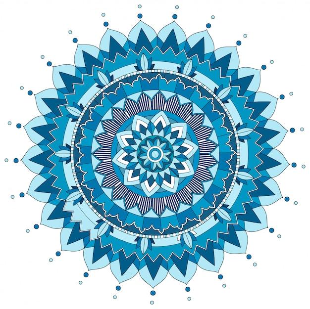 Wzór mandali w kolorze niebieskim Premium Wektorów