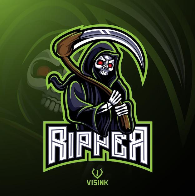 Wzór maskotki logo czaszki ripper Premium Wektorów