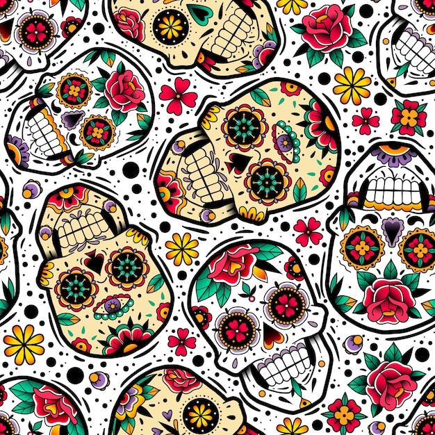 Wzór Meksykańskie Czaszki Premium Wektorów