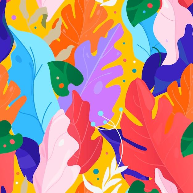 Wzór Memphis. Kreatywny Współczesny Kwiecisty Bezszwowy Wzór. Kolaż. Ilustracja Wektorowa Egzotyczne Rośliny Dżungli. Premium Wektorów