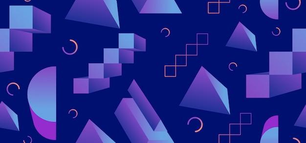 Wzór memphis lat 90. z elementami geometrycznymi 3d Premium Wektorów