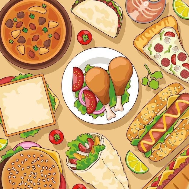 Wzór Menu Pyszne Fast Food Premium Wektorów