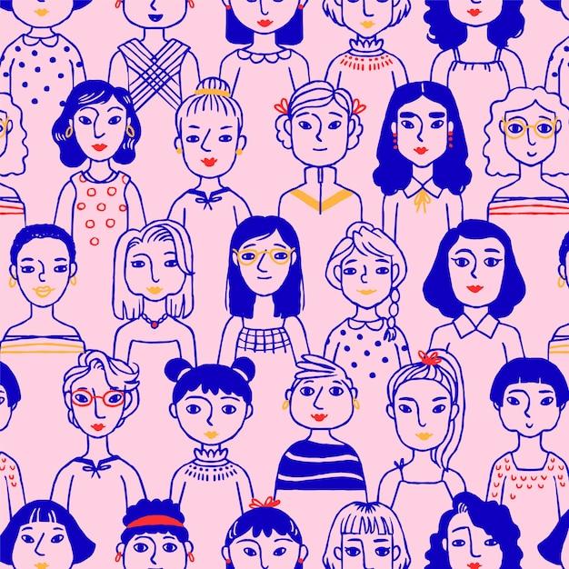 Wzór Na Dzień Kobiet Z Twarzami Kobiet Darmowych Wektorów