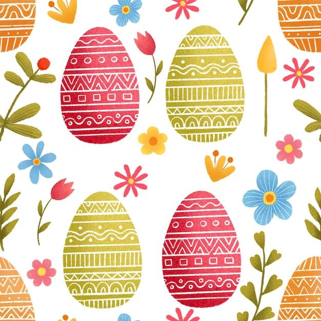 Wzór Na Temat Wielkanocy. Wielkanocny Wiosny Tło Z Kwiatami I Jajkami. Premium Wektorów
