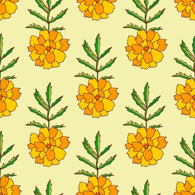 Wzór nagietka. wzór kwiatowy z pomarańczowymi kwiatami nagietka. Premium Wektorów