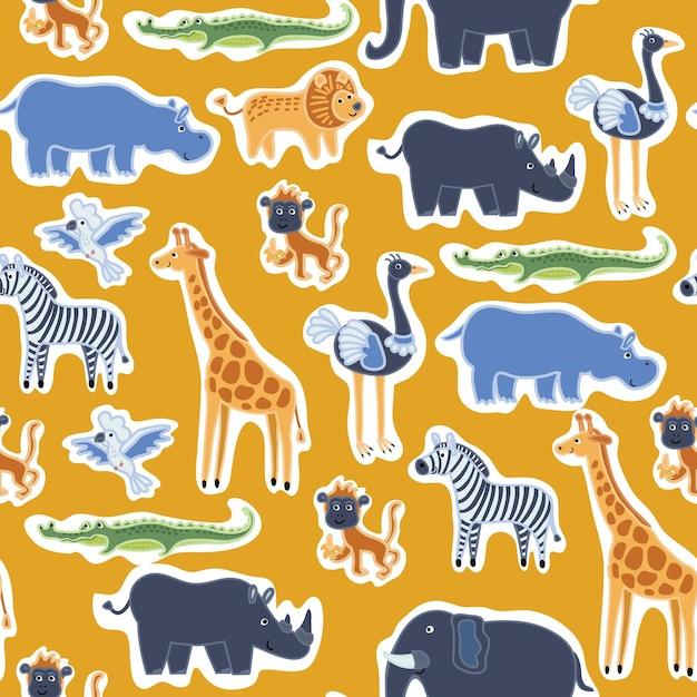 Wzór Naklejek śmieszne Słodkie Zwierzęta Premium Wektorów
