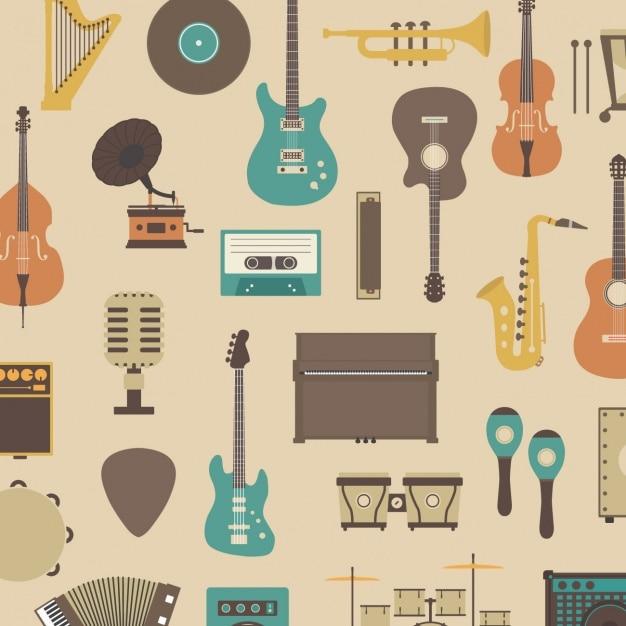 Wzór o instrumentach muzycznych Darmowych Wektorów