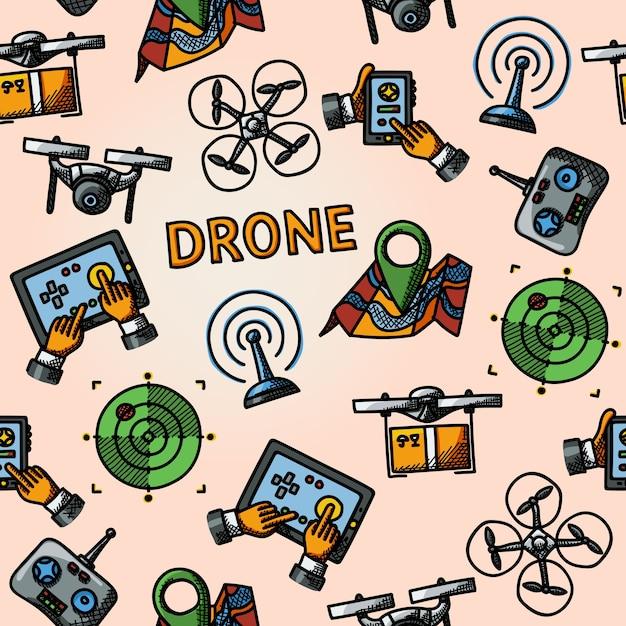 Wzór Odręcznego Drona Premium Wektorów