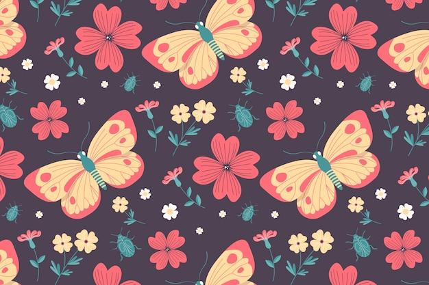 Wzór Owadów I Kwiatów Darmowych Wektorów