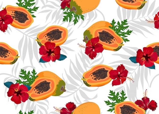 Wzór Owoce Papai Premium Wektorów