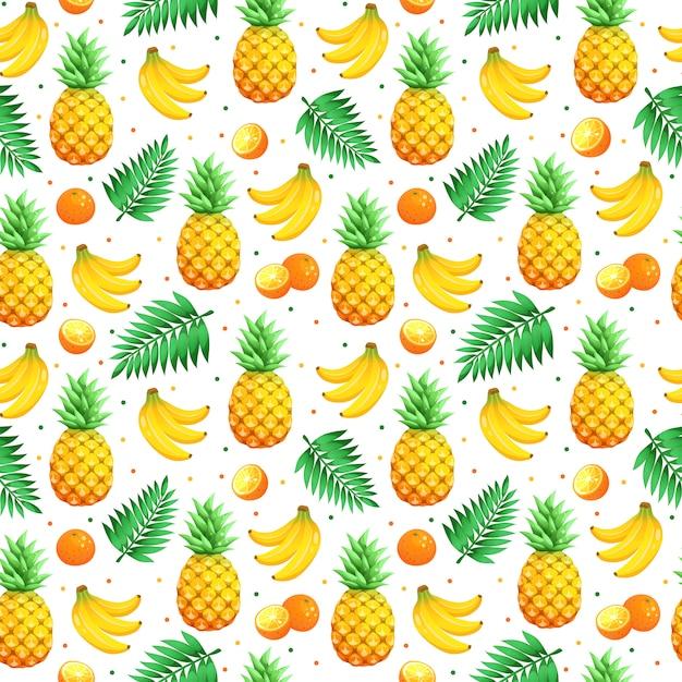 Wzór Owoców Tropikalnych Premium Wektorów