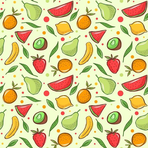 Wzór Owoców Z Bananem Darmowych Wektorów