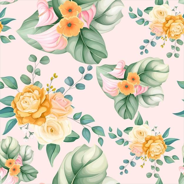 Wzór Piękny Kwiat I Liście Darmowych Wektorów