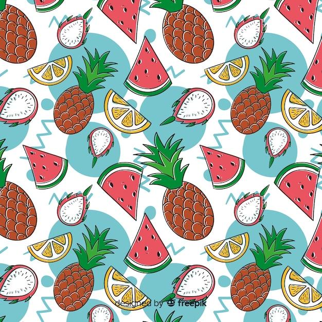 Wzór Płaskich Owoców Tropikalnych Darmowych Wektorów
