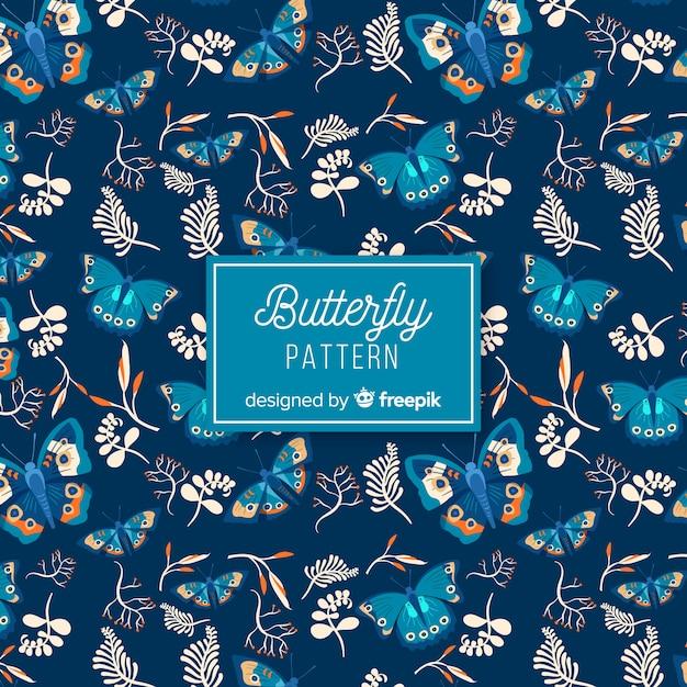 Wzór płaskie motyle Darmowych Wektorów