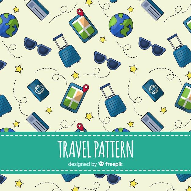 Wzór Podróży Z Elementami I Linią Przerywaną Darmowych Wektorów
