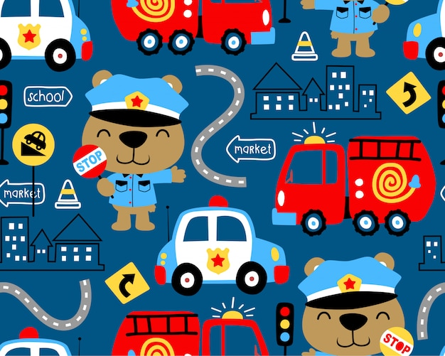 Wzór pojazdów kreskówka z śmieszne gliny Premium Wektorów